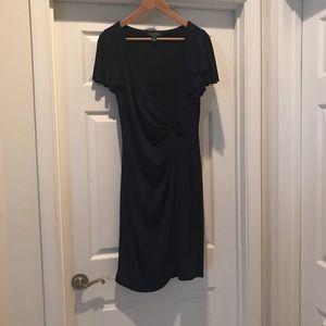 Lauren Navy Dress with a beautiful broach